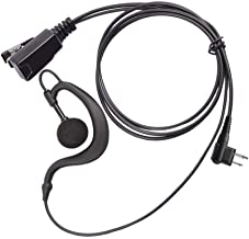 Arama Radio Earpieces G Shape Soft Ear Hook Earpiece Headset with Push to Talk and Microphone for Motorola Talkabout Dual Pin 2 Way Radio (A101M01)
