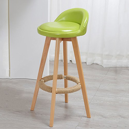 CS La chaise haute Bar Tabouret de table Tabouret en bois simple Rotation Bar Chaise Pu Coussin (Color : Green)