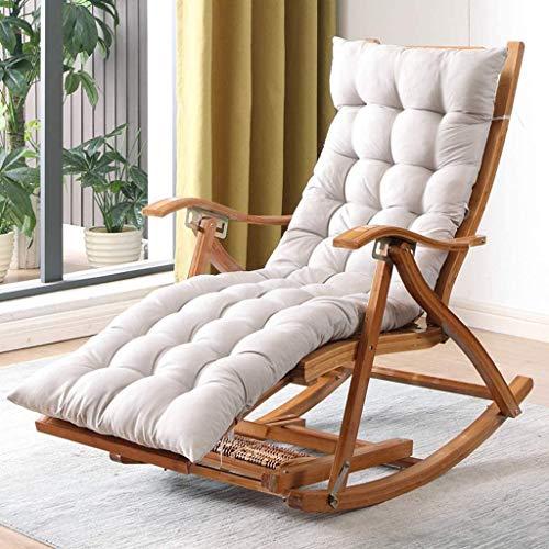 ZZX Relaxliege Garten Camp Schaukelstuhl Klappbarer 5-Gang Verstellbarer Liegestuhl aus Holz Bambus Patio Sonnenliege Relaxliege mit Schwerelosigkeit und gepolstert, max. Unterstützung 550lbs,Gray