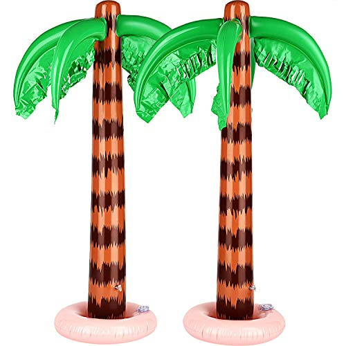 Inflatable Palm Trees Jumbo Coconut Trees Beach Backdrop Favor for Hawaiian Luau Party Decoration Accessory (Thicker Trunk with Green Based Style) (Thick Trunk with Pink Based Style)