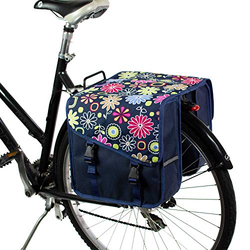 BikyBag® Klassisch S - Doppel Fahrradtasche Gepäckträgertasche (Rosa Gänseblümchen)