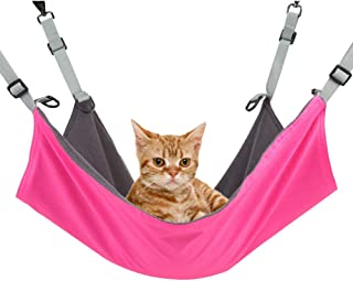 RivenAn Hanging Cat Hammock, Pet Hammock for Cage, Adjustable Cat Bed Two Sides Comfortable/Waterproof Resting Sleepy Pad for Cats Small Dogs Rabbits or Other Small Animals