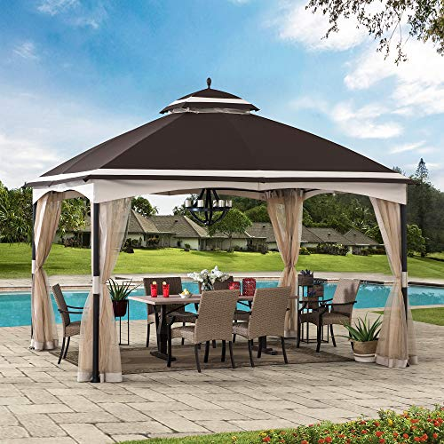 Sunjoy Thelma 10.5 x 13 ft. 2-Tier Steel Gazebo, Brown & Tan