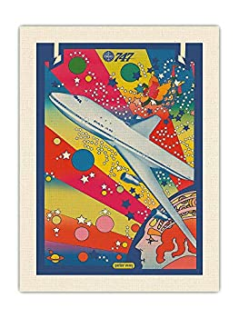 Pan American World Airways - Boeing 747 - Pop Art - Vintage Airline Travel Poster by Peter Max c.1969 - RAW Organic Canvas Fabric Print 18 x 24in