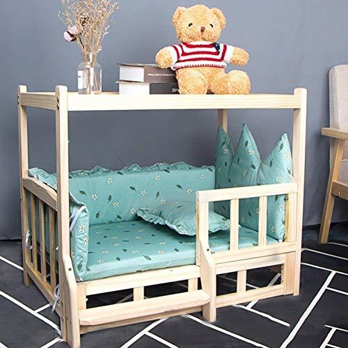 Hundebett Blau & Grün & Gelb Erhöhte Katzenbetten für Hunde mit Abnehmbarer Matratze und Treppe, Lounge-Sofa aus Massivholz, für Hunde Kleintiere (Color : Green, Size : S(60×38×60cm))