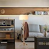 YLJYJ Durable Floor Lamp Floor Light Log Chassis Linen Fabric Lampshade Solid Wood Tree Hanger Floor Lamp Bedroom Study Living Room Fabric Wood Floor Lamp F