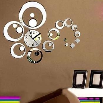 Topker Bricolage 3D rond amovible mur dhorloge autocollant miroir d/écalque Art Mural Home Decor