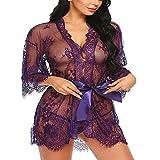 XinFeng Lencería Sexy Cinturón De Encaje De Pestañas Túnica De Manga Larga Pijama Atractivo Conjunto De Albornoz De Mujer 紫色 XL