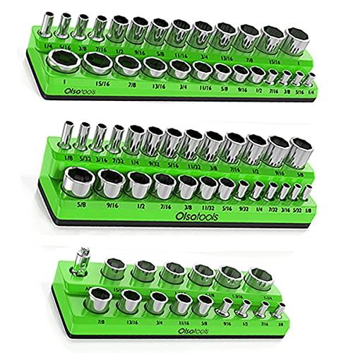 Olsa Tools Magnetic Socket Organizer | 3 Piece Socket Holder Kit | 1/2-inch, 3/8-inch, & 1/4-inch Drive | SAE Green | Holds 68 Sockets | Professional Quality Tools Organizer