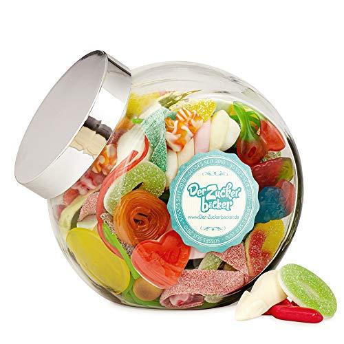 Große Freude - bunt gefülltes Schräghals-Glas mit leckerem Süßigkeiten-Mix zum Verschenken