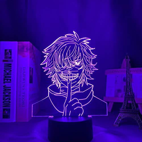 Lámpara de ilusión 3D Luz de noche LED Bombilla de anime Tokyo Ghoul Ken Kaneki para decoración del hogar Noche Regalo fresco Aniversario Acrílico Tokyo Ghoul Niño niña Regalo de cumpleaños