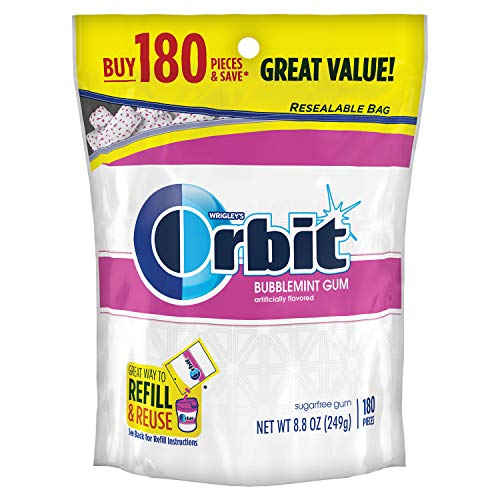 ORBIT Bubblemint Sugarfree Gum, 8.8-Ounce Resealable Bag, 180 Pieces