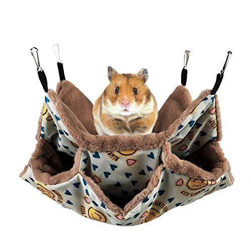 Househome - Hamaca para roedores, hamaca para ratas, hámsteres, chinchillas y ardilla, suave y cálida mascotas jaula colgante 3 capas