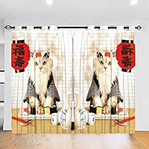 NOOK QUNK Blackout Curtains Set -Sushi Cat Japanese Cute Funny Kitten Curtain Drapes Panels Thermal Insulated Window for…