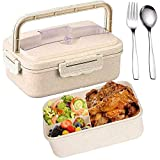 SunAurora Bento Boxen, Lunch Box, 1000ML Brotzeitbox Auslaufsicher, Mikrowellengeeignet und Spülmaschinenfeste Brotdose, mit Griff und Edelstahlbesteck (Beige)