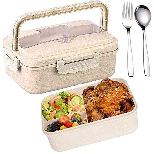 SunAurora Caja de Almuerzo, Caja de Bento 3 Compartimentos con Asa,Fiambreras a Prueba de Fugas con Cubiertos,1000 ML (Beige)