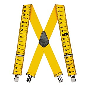 SuspenderStore Men's Tape Measure Suspenders – Construction Clip