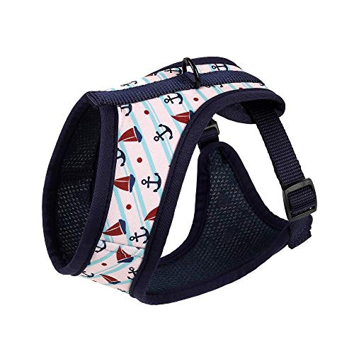Mile High Life | Dog Cat Vest Harness | No Choke Pull | Easy Step-in | Breathable Soft Mesh Padding | Puppy Training Halter | Navy/White Fish | X-Small Girth (11.4'-16.1')