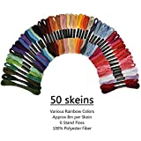 Herramienta de bordado 50 colores de hilo de bordado del aro de la aguja de tejer Kit de costura Set de regalo de bricolaje Accesorios de costura Hilo de coser ( Color : 50 Color Thread , Size : 1 )