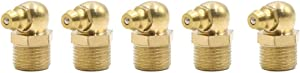 sourcing map 5pcs M12 Thread Brass Degree Angle Grease Nipple Fitting for Car