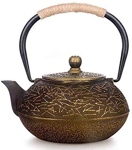 Reparto de teteras, Tetera de hierro fundido de hierro teteras Pava Plancha de hierro fundido Pot sin recubrimiento de agujas de pino 0.9L Hierro Hierro Mango Cubierta japonesa del hierro olla de hier