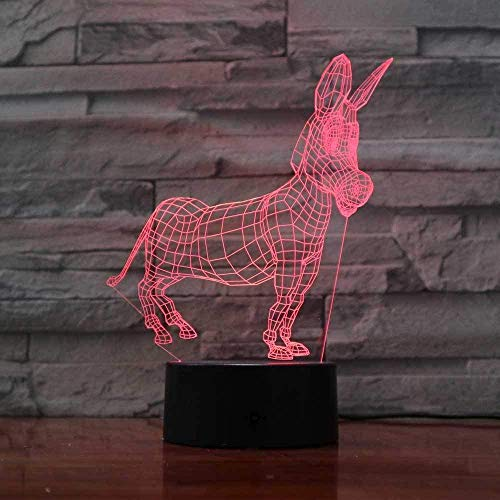 3D Led Animal Donkey Modelling Night Light USB Change Baby Mood Touch Button Kids Bedroom Desk Lamp Lighting for Home Decor Gift