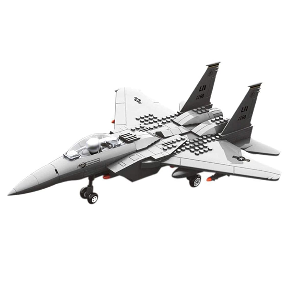 HJRHH-R Jx005 F15 Eagle Fighter Military Helicopter Building Blocks DIY Plane Bricks Educational Toys Compatible with