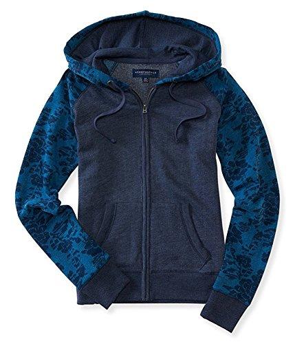 Aeropostale Womens Floral Hoodie Sweatshirt, Blue, Small