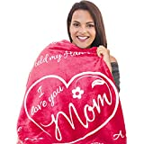 I Love You Mom Gift Blanket - Gifts for Mom - Birthday Gifts for Women - Unique Mom Gifts from Daughter or Son for Her Birthday, Mothers Day, or Christmas - Super Soft Throw 50' x 65' (Rose Pink)