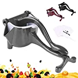 PentaQ Manual Fruit Juicer, Stainless Steel Squeezer Hand Press Lemon Squeezer Detachable Lime Orange Juicer Citrus Extractor Tool with 20pc Filter Bag, Grey
