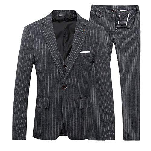 Men's Stripe Center Vents One Button 3-Piece Suit Blazer Jacket Tux Vest & Trousers,X-Large,Black