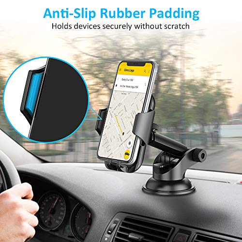 Car Phone Holder, TEUMI Phone Mount for Car Dashboard / Windshield, 360° Rotatable Extendable Arm Car Phone Cradle for iPhone 11 Pro Max/Xs Max/XS/XR/X/8 plus/8/7/7 Plus/6, Samsung Galaxy S20/S10 Plus/S10/S10e/Note 10/9/8