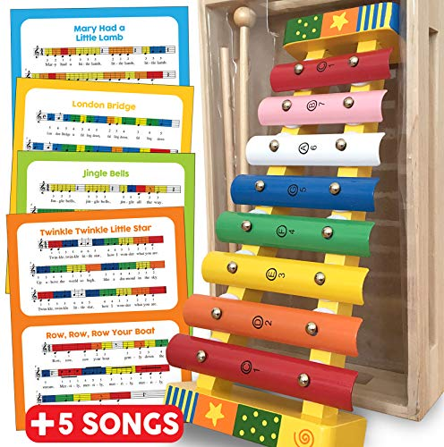 Xylophone Glockenspiel Musical Instrument - Wooden Toys Percussion Xylophone for Kids Toy Gift for Toddlers with FREE SONG SHEETS, WOODEN STORAGE BOX and TWO WOODEN MALLETS - Xylophone Baby Musical Toy for 18 months + 2 3 4 5 Year Old Boys Girls Wooden To