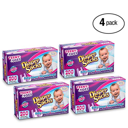 [800 Count] teeny Toes Fresh Fragrance Diaper Sacks - Waste Bag, with Tight Tie Close, Keeps The Bad Smell Away, Great for Walks, Home, Nursery, Or in Cars, 4 Packs