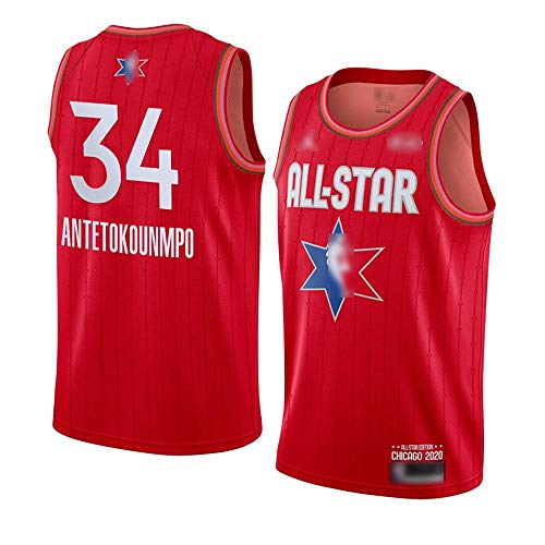 ATI-HSKJ 2020 All-Star Basketball-Trikots # 34 Giannis Antetokounmpo Fans Männer Basketball Westen Rot Neue Breathable Sweatshirt Jersey BH167,L:175cm~180cm