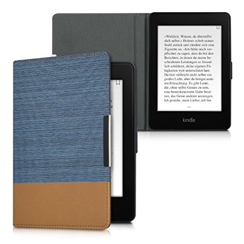 kwmobile Case for Amazon Kindle Paperwhite - PU Leather and Canvas Protective e-Reader Cover Folio Case - (for 2017 and Older) Blue/Brown