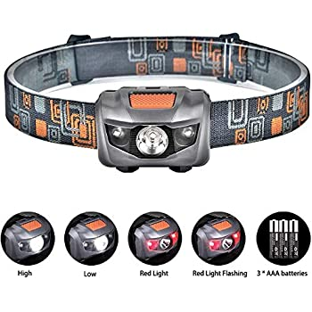 LE Head Torch Rechargeable, Lightweight Headlamp with Red