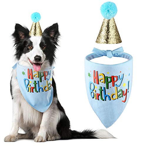 Blaoicni Dog Birthday Bandana Hat Scarf Party Supplies (Blue-boy)