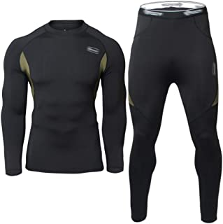 JoofEric Men's Thermal Underwear Soft Fleece Lined Top and Bottom Set Long Johns Quick Drying Thermo