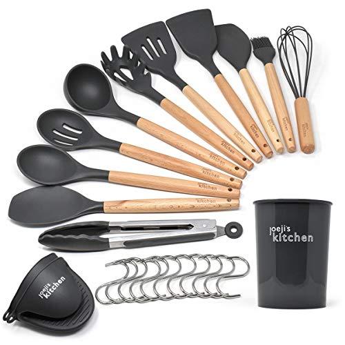 Küchenhelfer Pfannenwender Set mit 14 Tools | Hitzebeständig graues Küchenhelfer Silikon Küchenhelfer Set | Premium Cooking Geschirr Holzgriff Kochutensilien Küchenhelfer Set Silikon