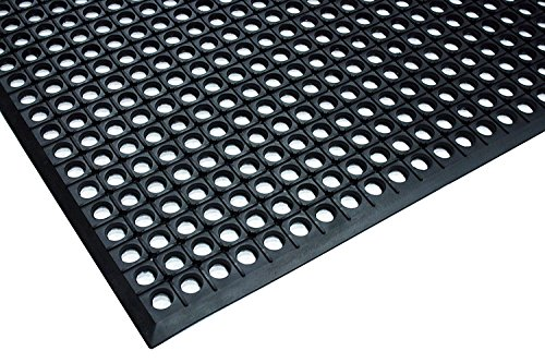 Durable Workstation Light Rubber Anti-Fatigue Drainage Mat for Wet Areas, 3' x 5', Black