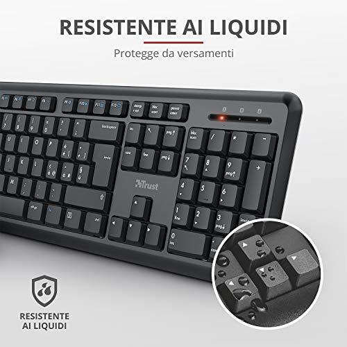 Trust Ymo Set mit Tastatur und Maus, kabellos, italienisches Layout für Windows/Linux (Tasten, leise, kabellos, 13 Tasten für Office oder Multimedia, USB-Receiver, PC/Laptop) schwarz