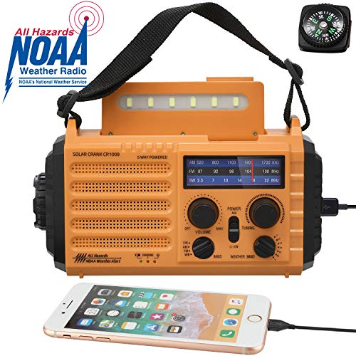 Solar Hand Crank Portable NOAA Weather Radio, 5-Way Powered AM/FM/SW Emergency Radio for Household and Outdoor with 2000mAh Battery Power Bank USB Charger,LED Flashlight,Reading Lamp,SOS Alarm&Compass