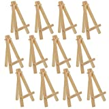 U.S. Art Supply 5' Mini Natural Wood Display Easel (Pack of 12), A-Frame Artist Painting Party Tripod Easel - Tabletop Holder Stand for Small Canvases, Kids Crafts, Business Cards, Signs, Photos, Gift