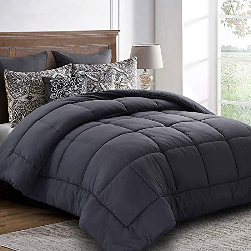 Queen Comforter (88 by 88 inches) - Grey Down Alternative Comforters Soft Quilted Duvet Insert with Corner Tabs - Balichun Luxury Hotel Collection 1800 Series - All Season