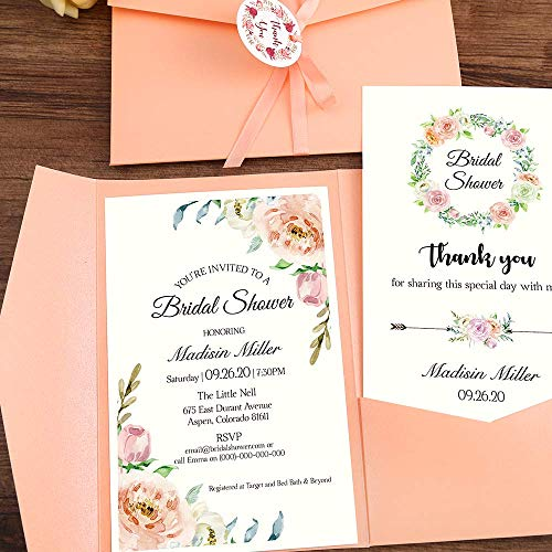 Bauma Auto 50pcs 4.7 x7.1inch Tri-fold Wedding Invitations for Bridal Shower, Dinner, Beach Theme, Party with Ribbon and Tags, DH0001 (Pink, 50pcs Blank)