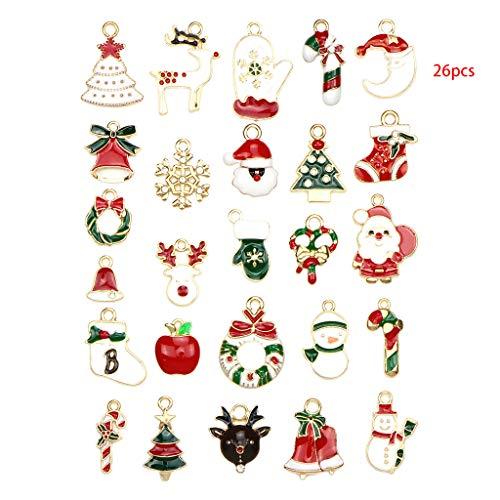 Set Di 26 Ciondoli Assortiti In Lega Di Natale, Smaltati, Per Gioielli Fai Da Te, Collane, Bracciali, Orecchini, Idea Regalo