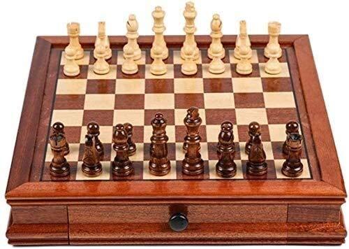 WCY Juego de ajedrez Juego de ajedrez Juego para Adultos para niños, ajedrez de Madera Maciza con cajón de Doble cajón. Piezas de ajedrez Hecho a Mano. yqaae (Size : Small)