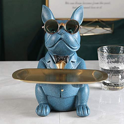 WZHZJ Decoración de la habitación, Estatuilla, Bulldog Freal, Escultura, Decoración de Mesa, Moderno, Multifunción, Escritorio Almacenamiento, Estatua, Decorativo, Bank de Monedas (Color : Blue)