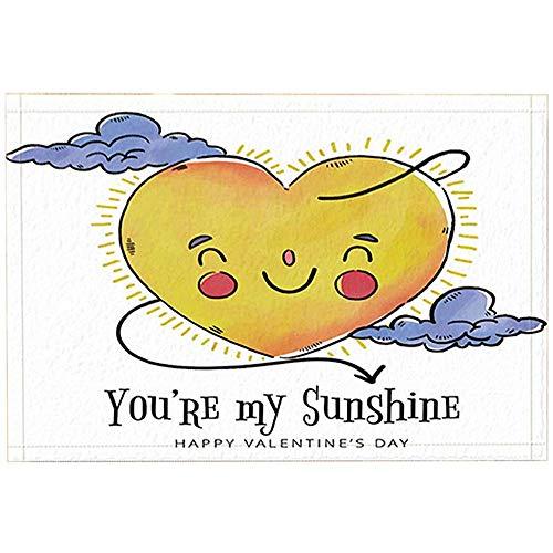 JHDF San Valentino Tappeti da Bagno a Forma di Cuore Sole Nuvola Sei Il Mio Sole Zerbino Antiscivolo Ingresso Tappetino da Bagno 40 * 60 cm Accessori da Bagno